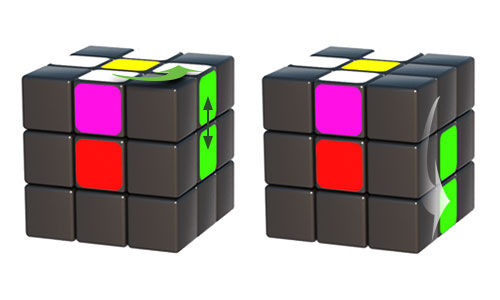Matching colours and 180 degrees rotation sides of Rubik's cube