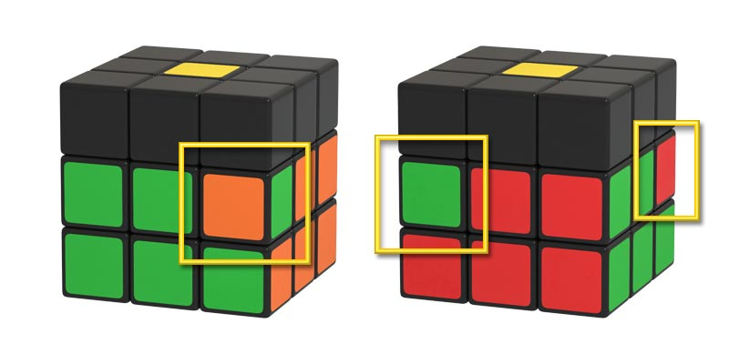 A few examples of incorrectly positioned pieces in the second layer of the Rubik's Cube