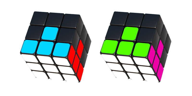First layer of Rubik's cube correctly assembled and colours correctly positioned