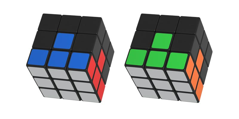 The first layer of the Rubik's Cube correctly assembled and colors correctly positioned