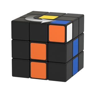 Matching colors for positioning the white corner piece by rotating the upper layer of the Rubik's Cube