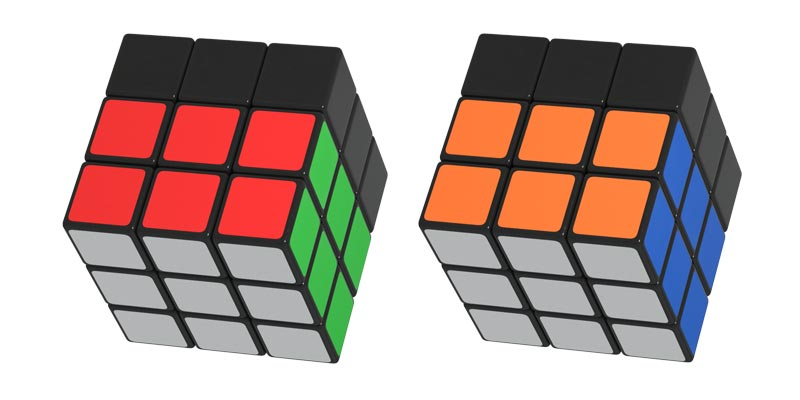 The correctly solved and positioned first and second layers of the Rubik's Cube
