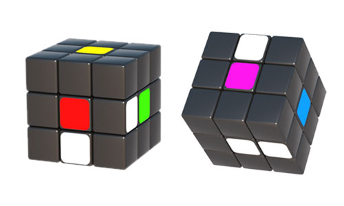 Spotting the starting positions of the white cubes